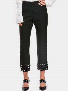 Tassels Faux Pearl Boot Cut Pants - Black S