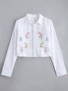Cropped Button Down Floral Embroidered Shirt - White M