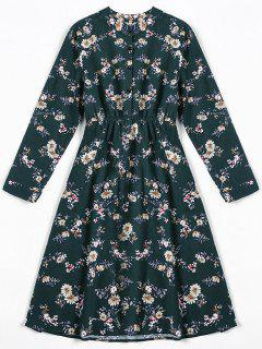 Tiny Floral Fit And Flare Dress - Blackish Green L