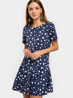 Flounces Keyhole Polka Dot Mini Dress - Purplish Blue S