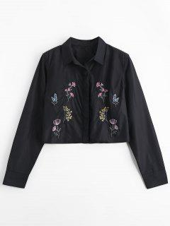 Cropped Button Down Floral Embroidered Shirt - Black S