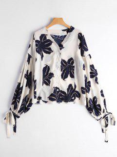 Drop Shoulder Floral Print Puff Sleeve Blouse - Purplish Blue