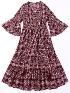 Tie Belt Indian Print Bohemian Dress - Deep Red M