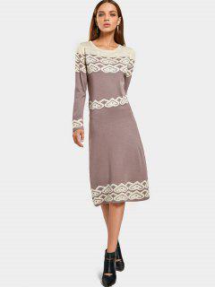 Jacquard Long Sleeve Rhinestoned Sweater Dress - Smashing