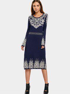 Rhinestoned Jacquard Sweater Midi Dress - Purplish Blue