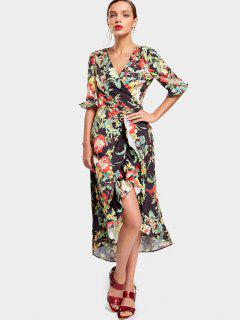 Flower Asymmetrical Wrap Maxi Dress - Floral M