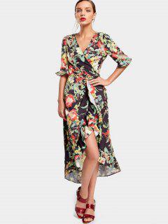 Fleur Asymétrique Wrap Maxi Dress - Floral L