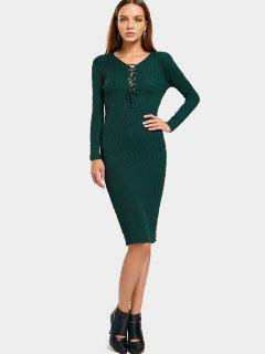 Long Sleeve Lace Up Sweater Bodycon Dress - Green