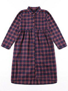 Button Up Plaid Shirt Dress - M