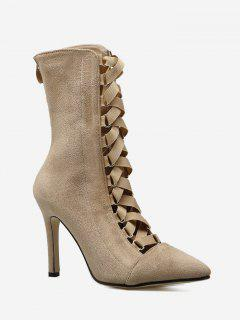 Cross Strap Pointed Toe Mid Calf Boots - Apricot 38