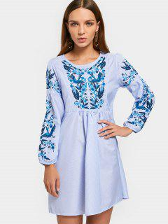 Long Sleeve Embroidered Stripes A Line Dress - Stripe S
