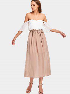 Two Tone Off Shoulder Midi Dress - White L