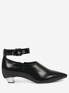 Pointed Toe Ankle Strap Flat Shoes - Black 39