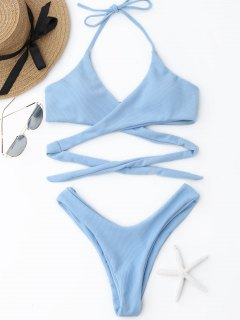 Ribbed Halter Wrap Bikini Set - Light Blue S