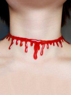 Collier Choker Halloween Sanguin Plastique  - Rouge