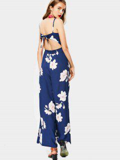 High Waist Flower Cami Wide Leg Jumpsuit - Floral S
