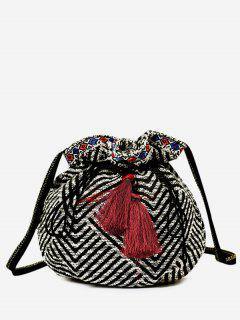 Tassel Striped Drawstring Crossbody Bag - Black