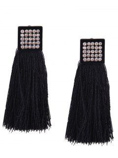 Rhinestoned Geometric Tassel Earrings - Black