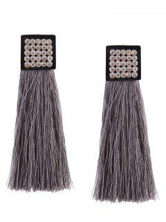 Rhinestoned Geometric Tassel Earrings - Gray