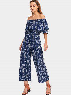 Overlap Feather Off Shoulder Jumpsuit - Purplish Blue L