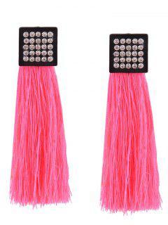 Rhinestoned Geometric Tassel Earrings - Pink