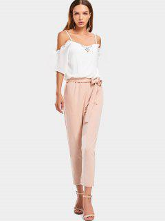 Two Tone Cold Shoulder Jumpsuit - White S