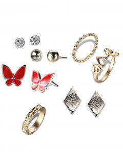 Rhinestone Butterfly Earrings And Love Rings - Golden