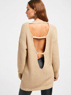 Chunky Knit Open Back Sweater - Apricot
