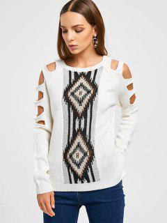 High Low Cut Out Sleeve Sweater - White