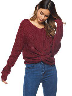 V Neck Twist Chunky Sweater - Wine Red