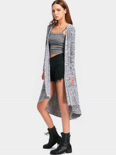 Hooded Heathered Asymmetrical Knit Cardigan - Gray L