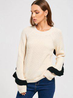 Ruffles Back Half Zip Sweater - Off-white