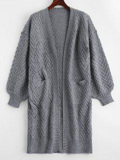 Open Front Cable Knit Cardigan With Pockets - Gray