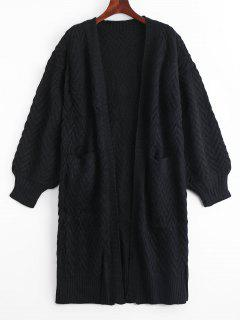 Open Front Cable Knit Cardigan With Pockets - Black