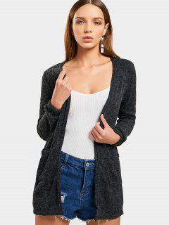Fuzzy Open Front Knit Cardigan - Deep Gray L