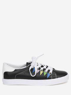 Stitching Geometric Multicolor Sneakers - Black 38