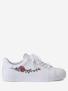 Faux Leather Flower Embroidery Athletic Shoes - White 38