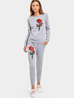 Rose Embroidered Patches Sweatshirt And Casual Drawstring Pants - Gray Xl