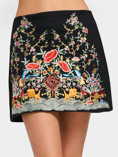 High Waisted Floral Embroidered A Line Dress - Black S