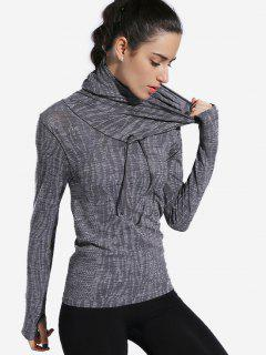 Heathered Thumbhole Hooded Sports Top - Gray M