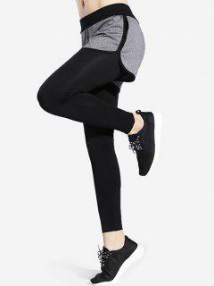 Shorts Overlay Sports Leggings - Black