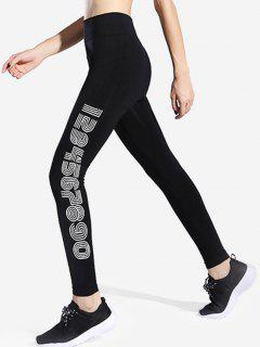 Side Graphic Workout Leggings - Black M