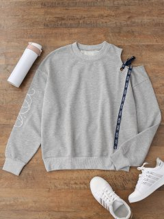 Embroidered Cold Shoulder Ribbon Sweatshirt - Gray S