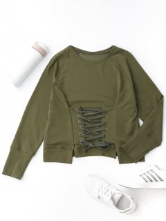 Front Lace Up Pullover Sweatshirt - Army Green M