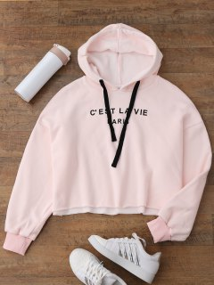 Cropped Letter Fleeced Hoodie - Pink S