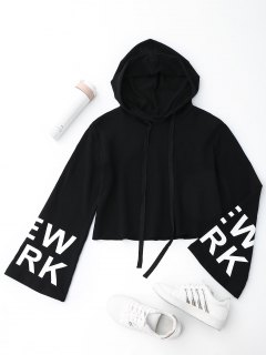 New York Cropped Hoodie - Black L