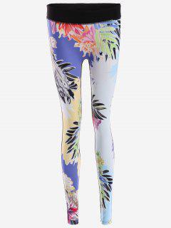 Flower Print Yoga Leggings - Floral S