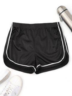Elastic Waist Satin Sports Dolphin Shorts - Black M