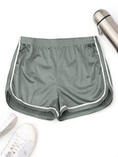 Elastic Waist Satin Sports Dolphin Shorts - Sage Green L