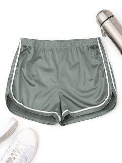 Elastic Waist Satin Sports Dolphin Shorts - Sage Green S